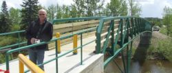 Phil Lodermeier at opening of Blindman River Bridge - Lacombe Globe