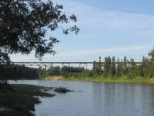 Mintlaw bridge view from Red Deer River