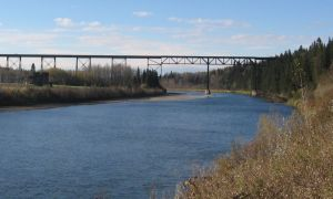 Mintlaw rail trestle Red Deer River
